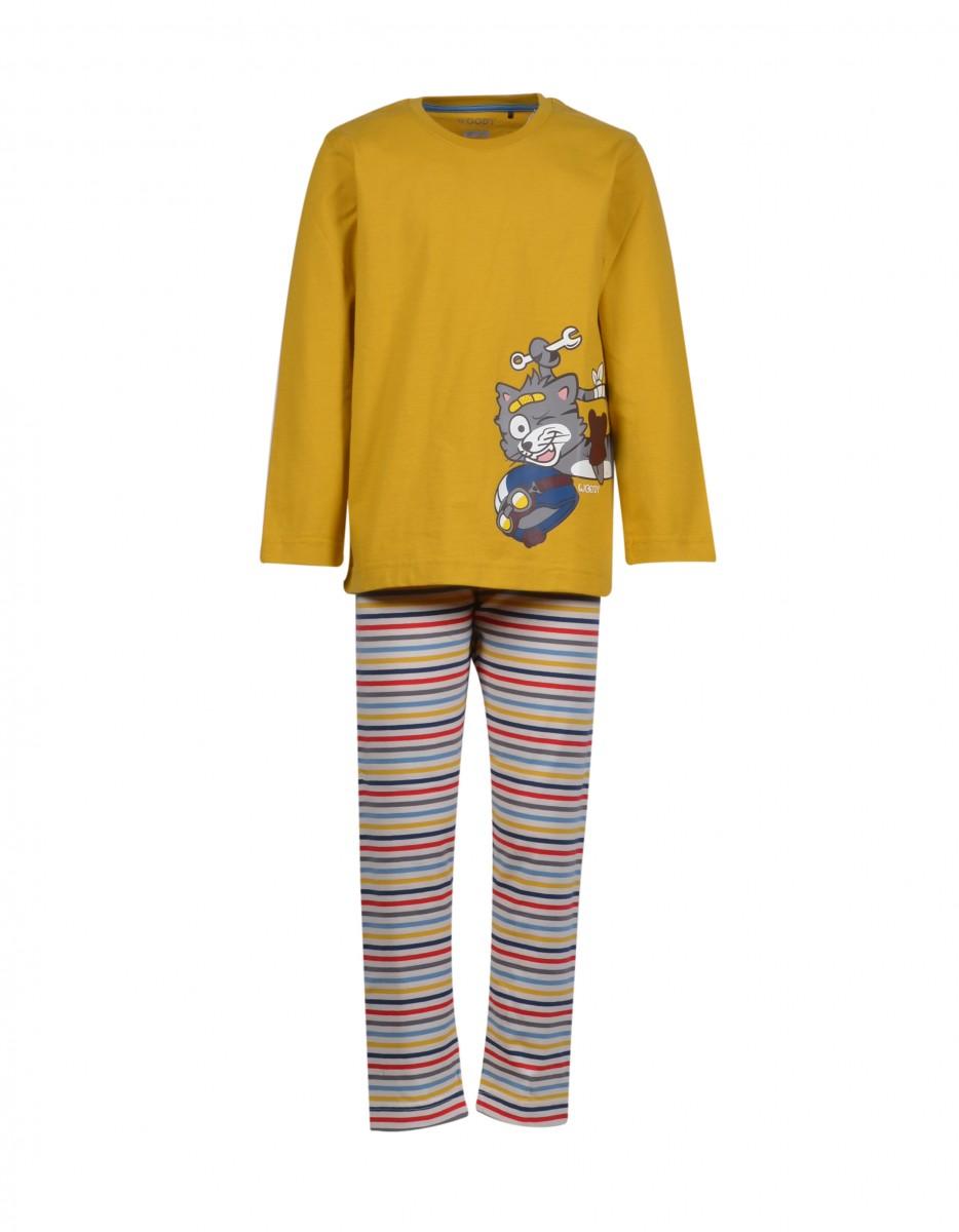 Woody - Jongens Pyjama Kat - Geel