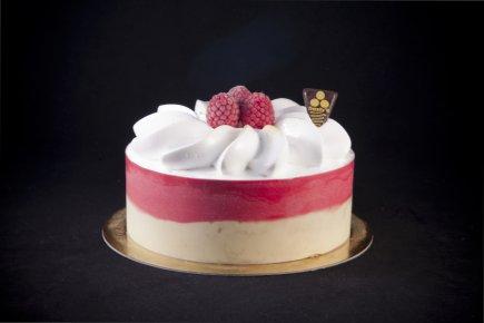 Vanilleijs met sorbet framboos