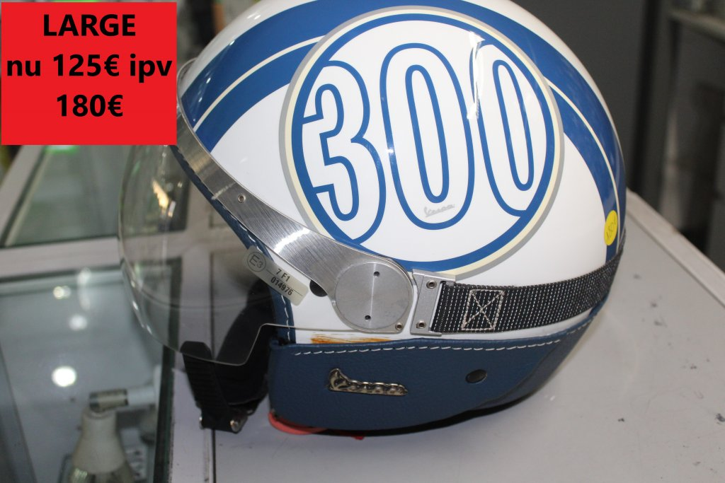 large vespa helm blauw wit