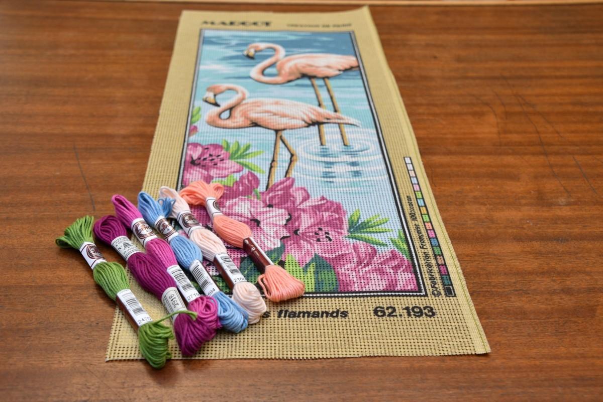 Borduren Flamingo Doek