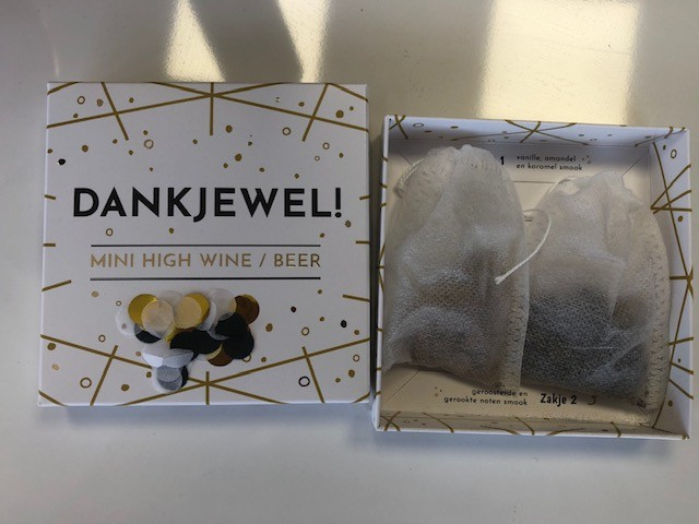 Luxe cadeaudoosje bier/wijn Bedankt