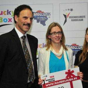 Luc Verheyden (CEO Handelsgids),3de plaats: Harlekijn, Jana Vannieuwenhuyse (Vertegenwoordiger Handelsgids)