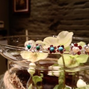 sterling zilveren oorringen met agaat, turquoise, pareltje